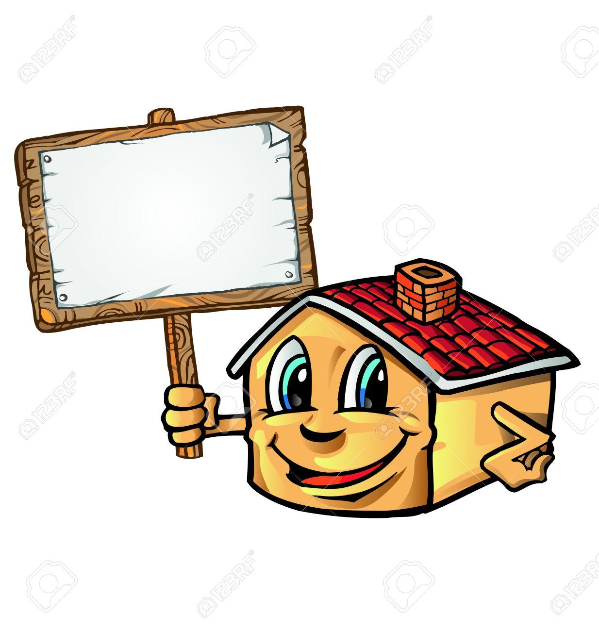 Banque dimages dessin animé de la maison avec le panneau indicateur