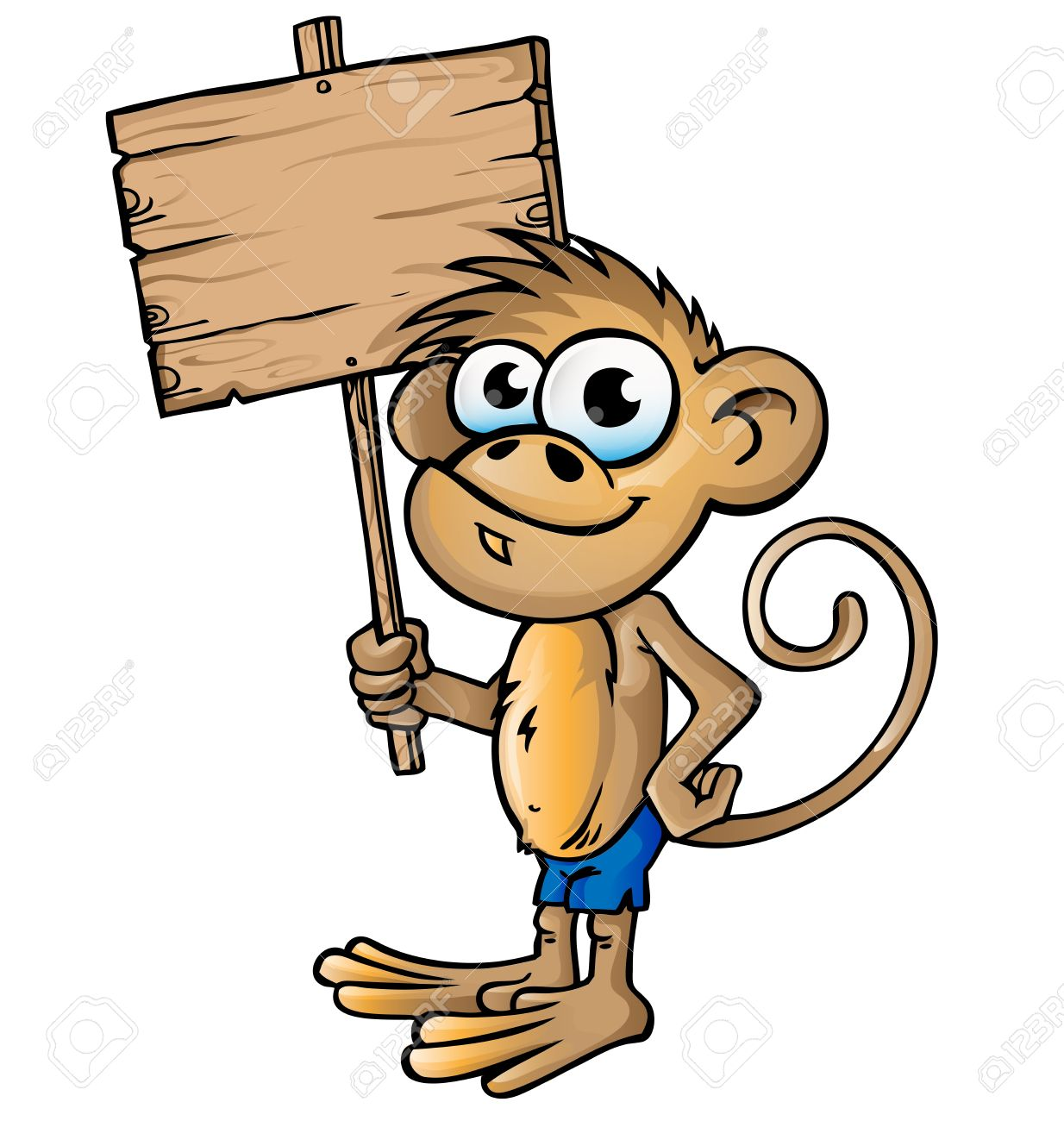 monkey cartoon with signboard Stock Vector - 19262909