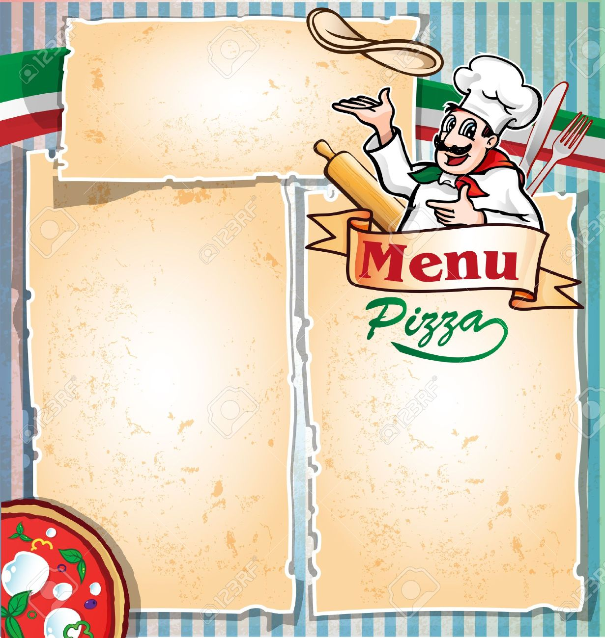 Pizza Menu With Chef Stock Vector