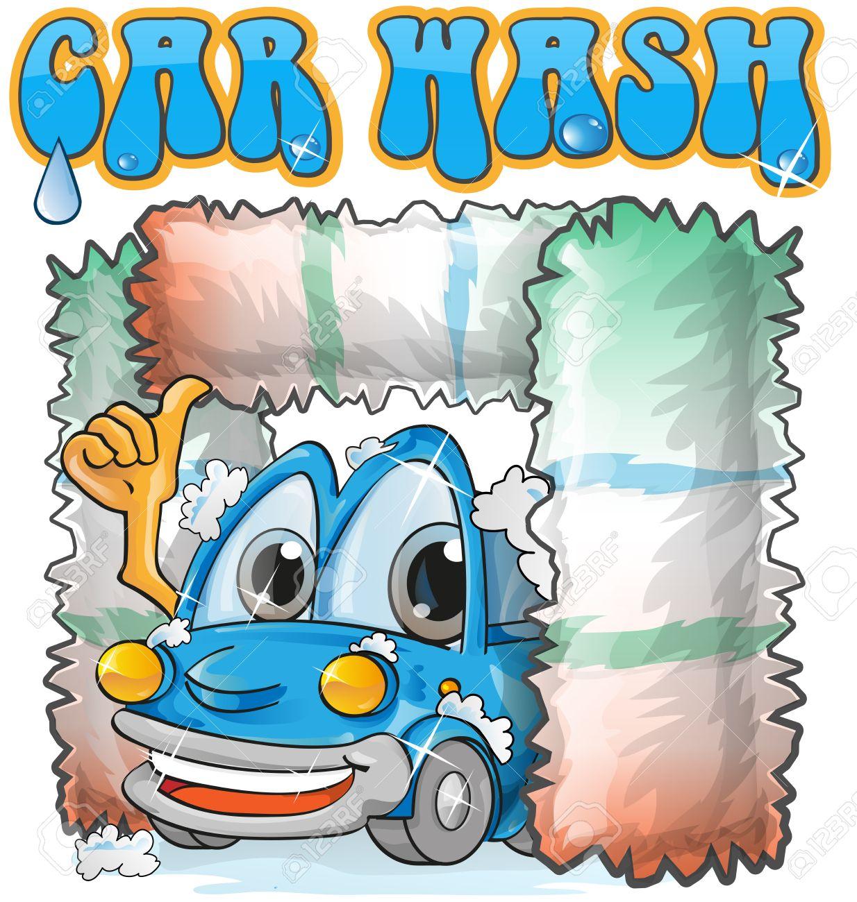 vector car wash cartoon on white background