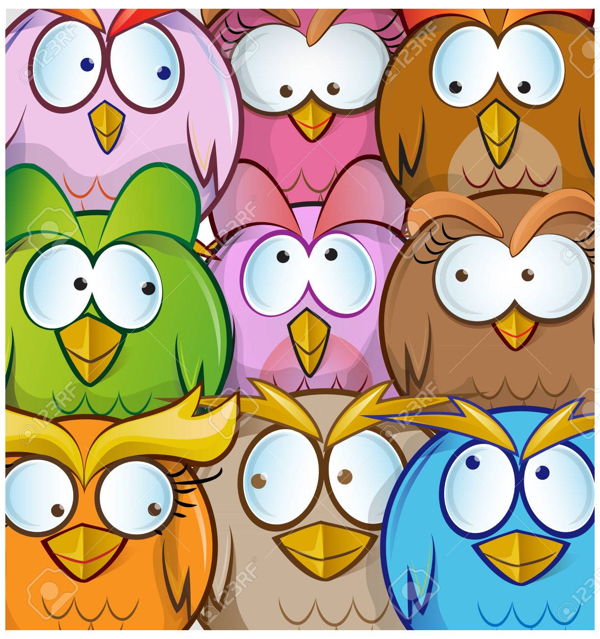 funny owl cartoon background royalty free cliparts vectors and