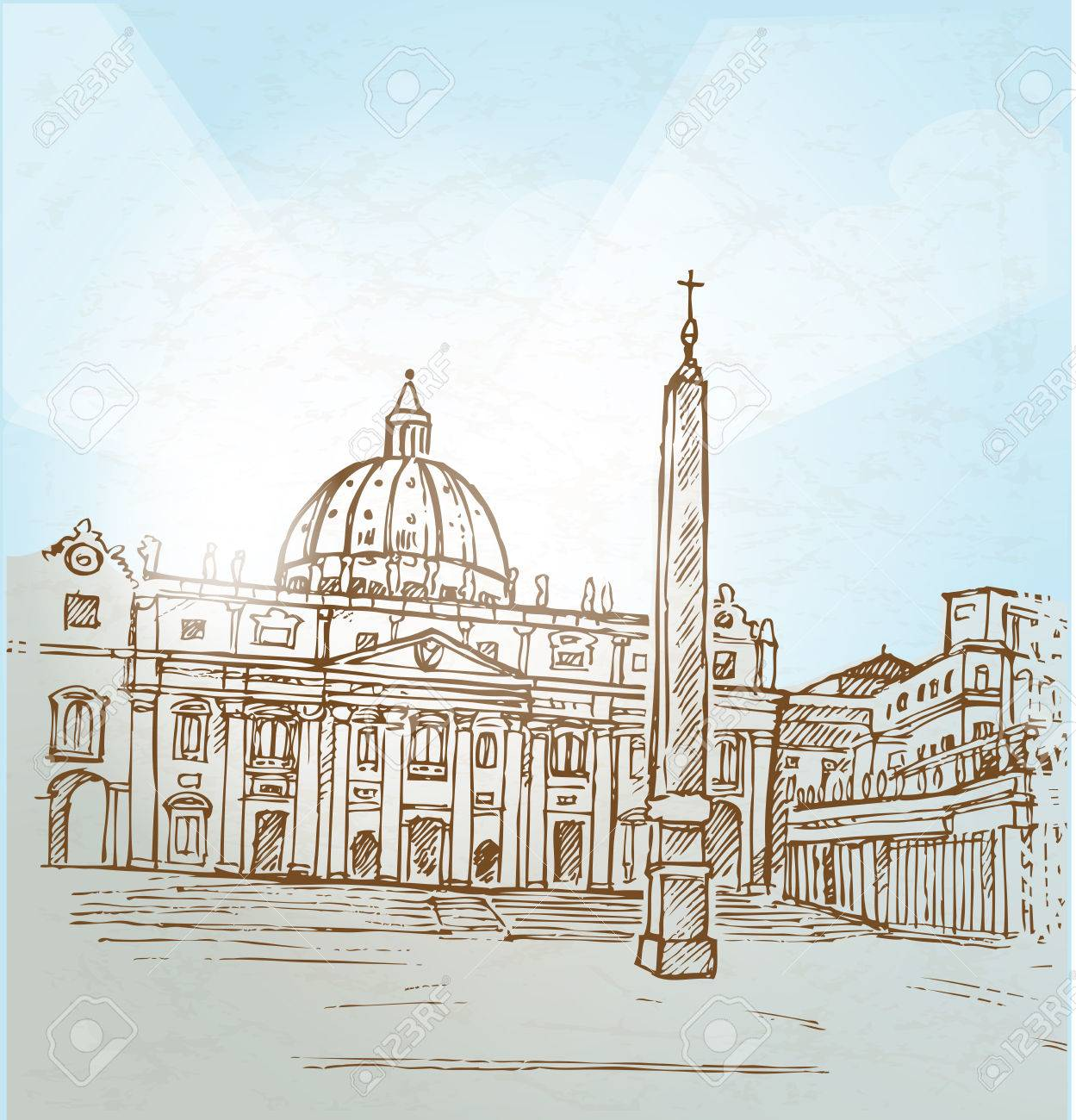 Vatican City Background Hand Draw Royalty Free Cliparts Vectors