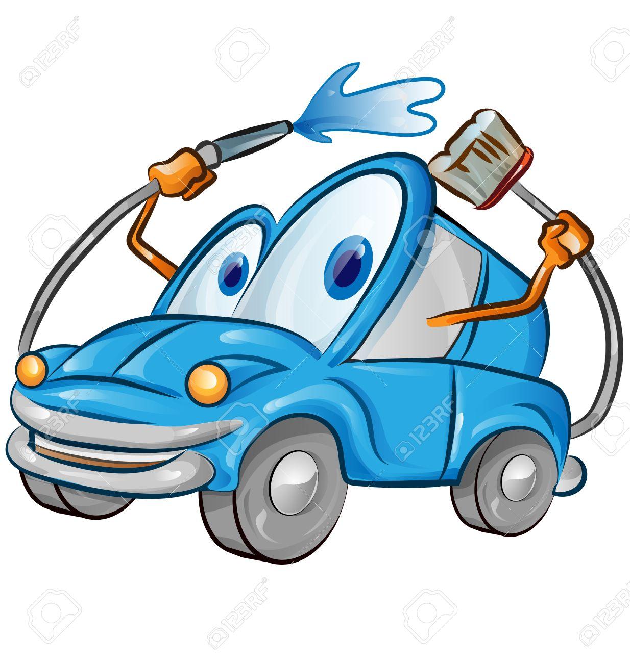 vector car wash cartoon