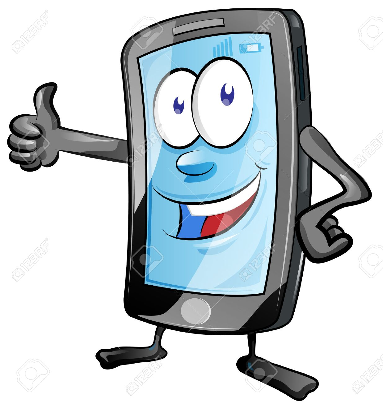 Fun Mobile Phone Cartoon With Thumbs Up Royalty Free Cliparts Vectors And Stock Illustration Image 43683599
