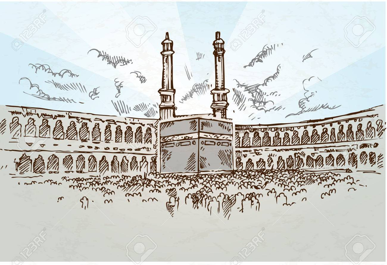 mecca background drawing hand drawn royalty free cliparts vectors
