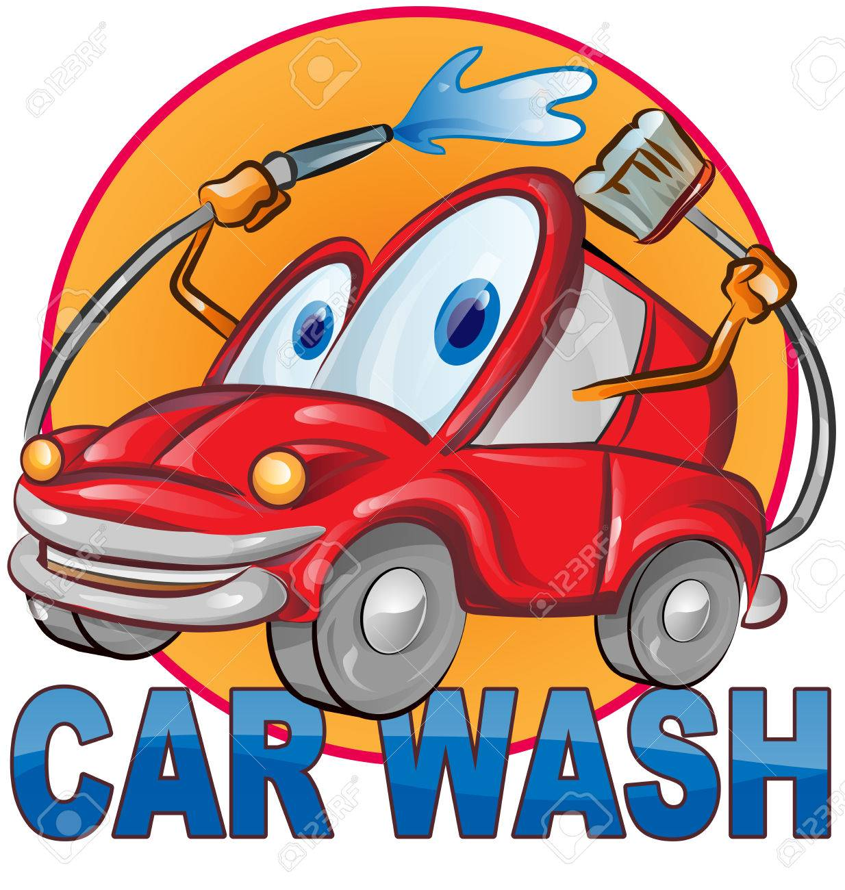 vector car wash symbol cartoon isolated on white