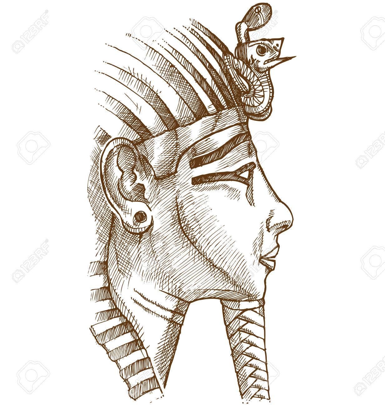 gold tutankhamon mask hand drawn - 60546389