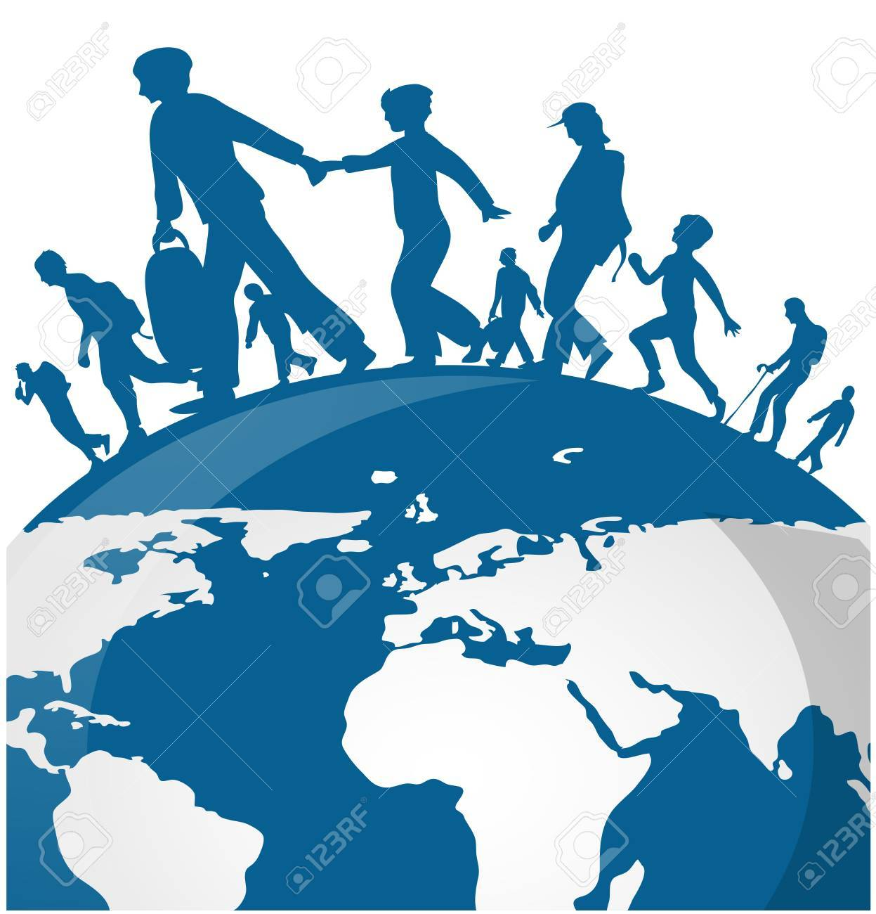 Immigration people on world map background - 84490595
