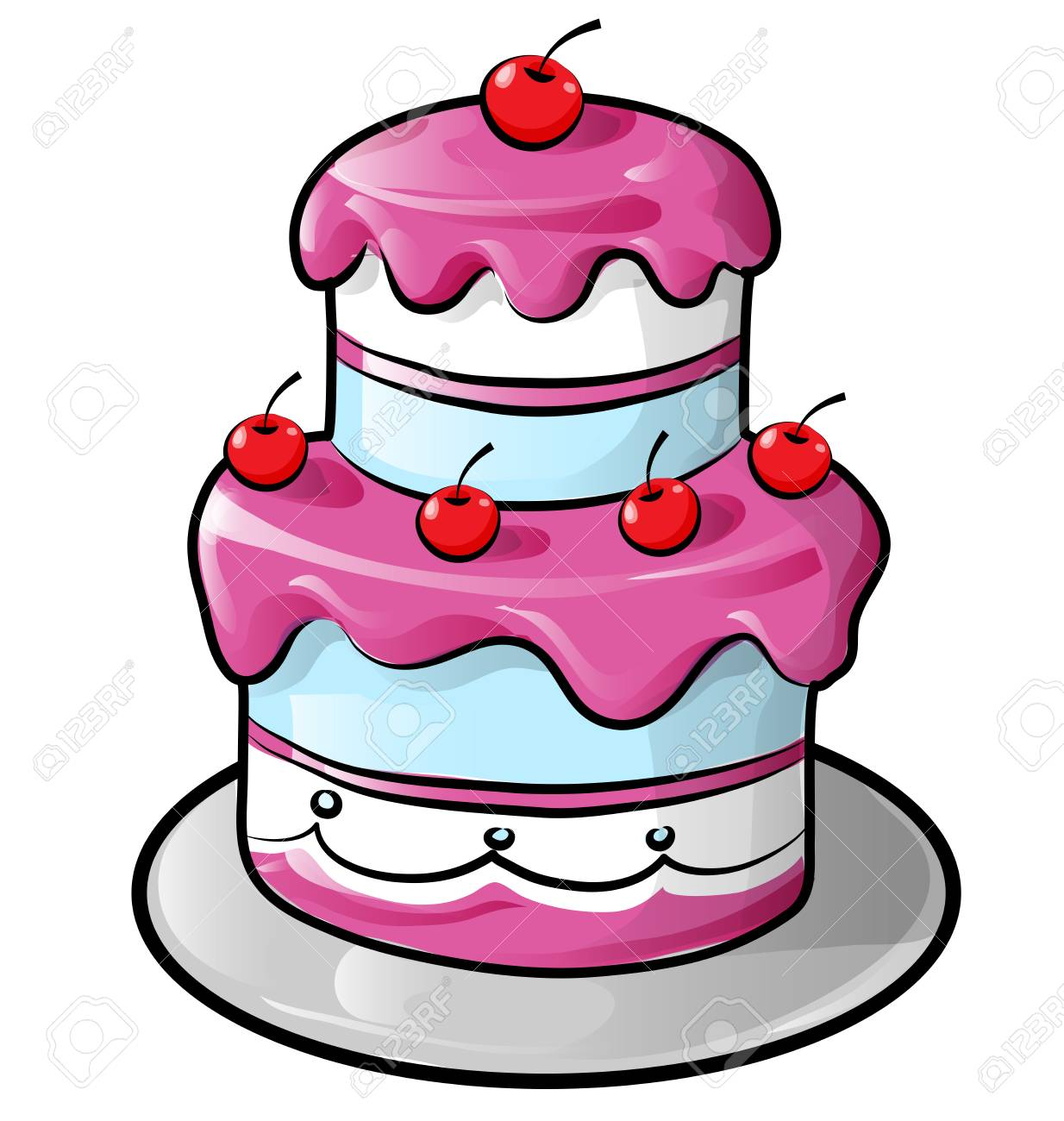 Colorful Birthday Cake With Outline Isolated On White Royalty Free