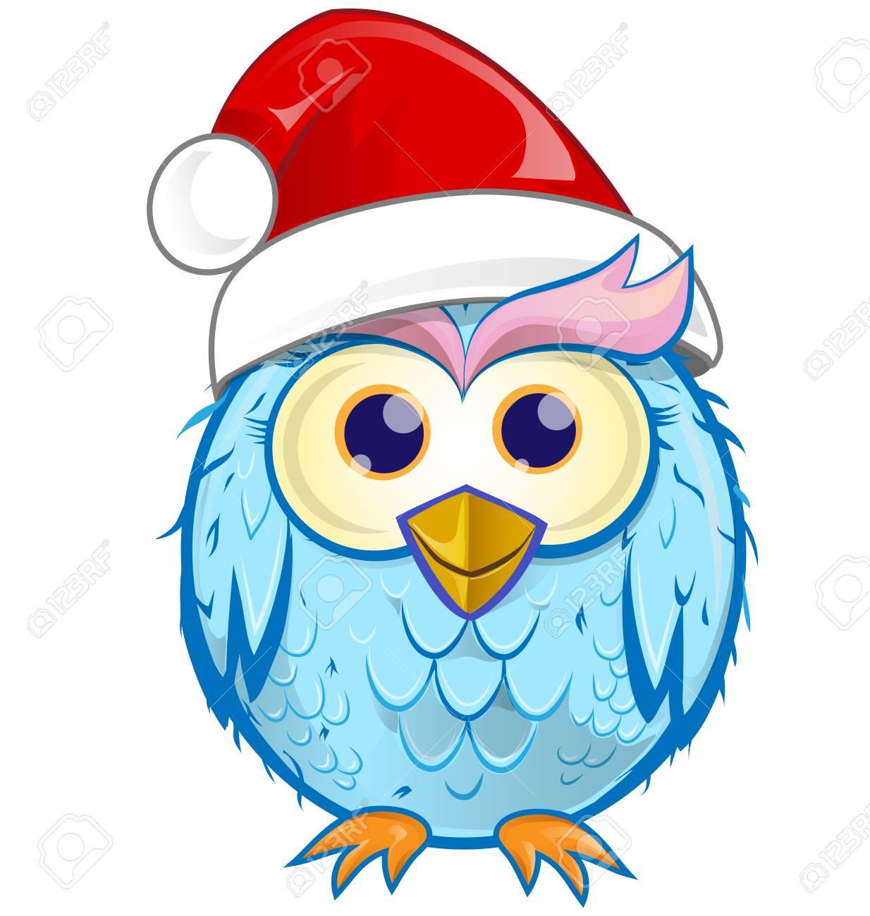 Christmas Owl.Christmas Owl Cartoon Isolated On White Background