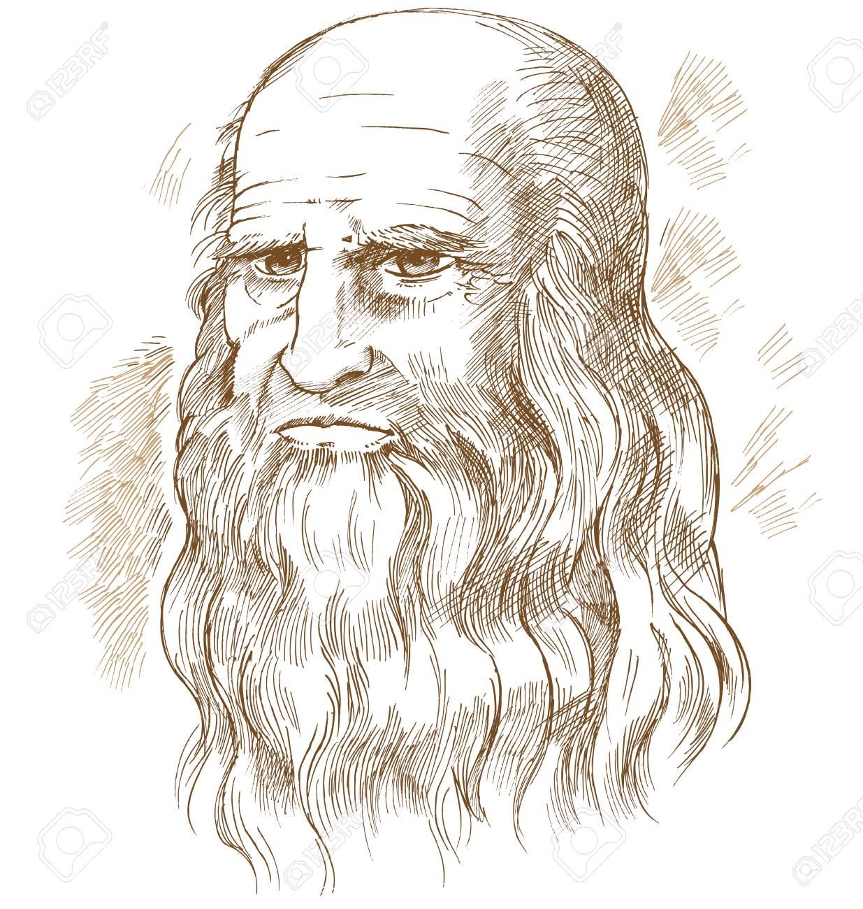 Hand drawn vector portrait. Leonardo Da Vinci - 118846146