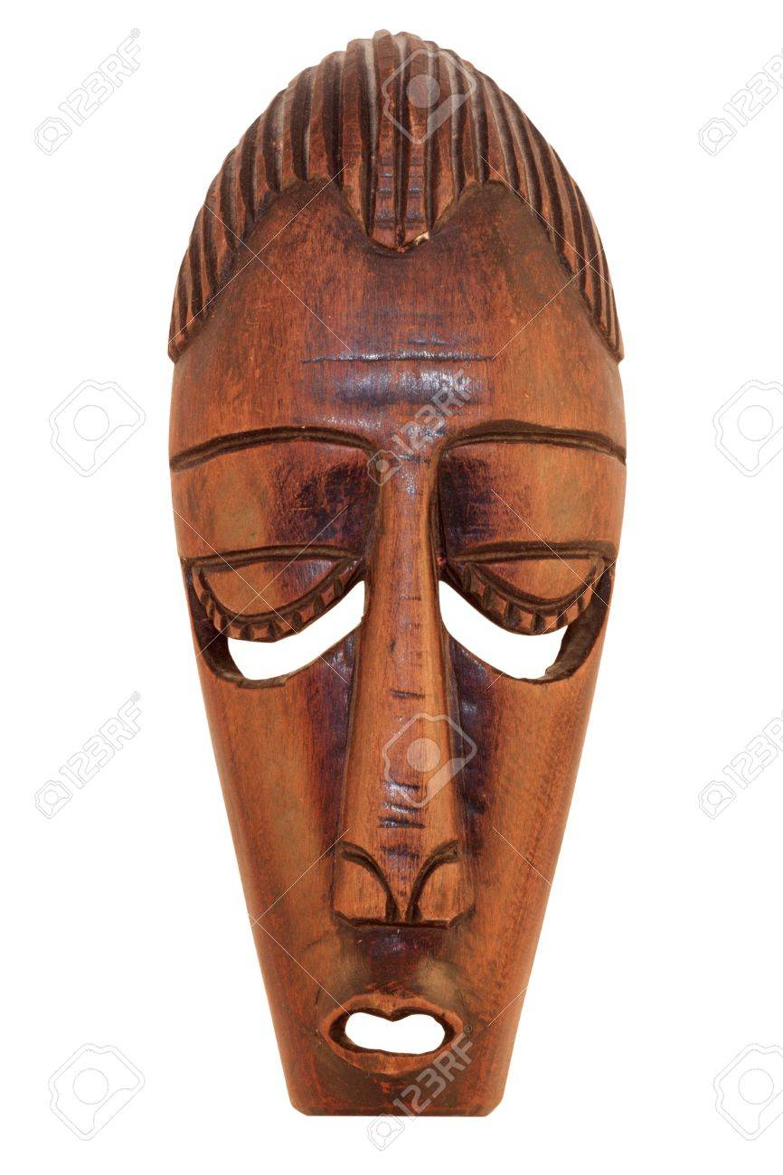 Ceremonial African Wooden Mask isolated on white background Stock Photo - 10946398
