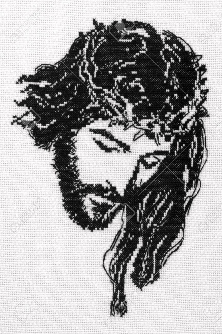 jesus christ cross stitch stock photo picture and royalty free