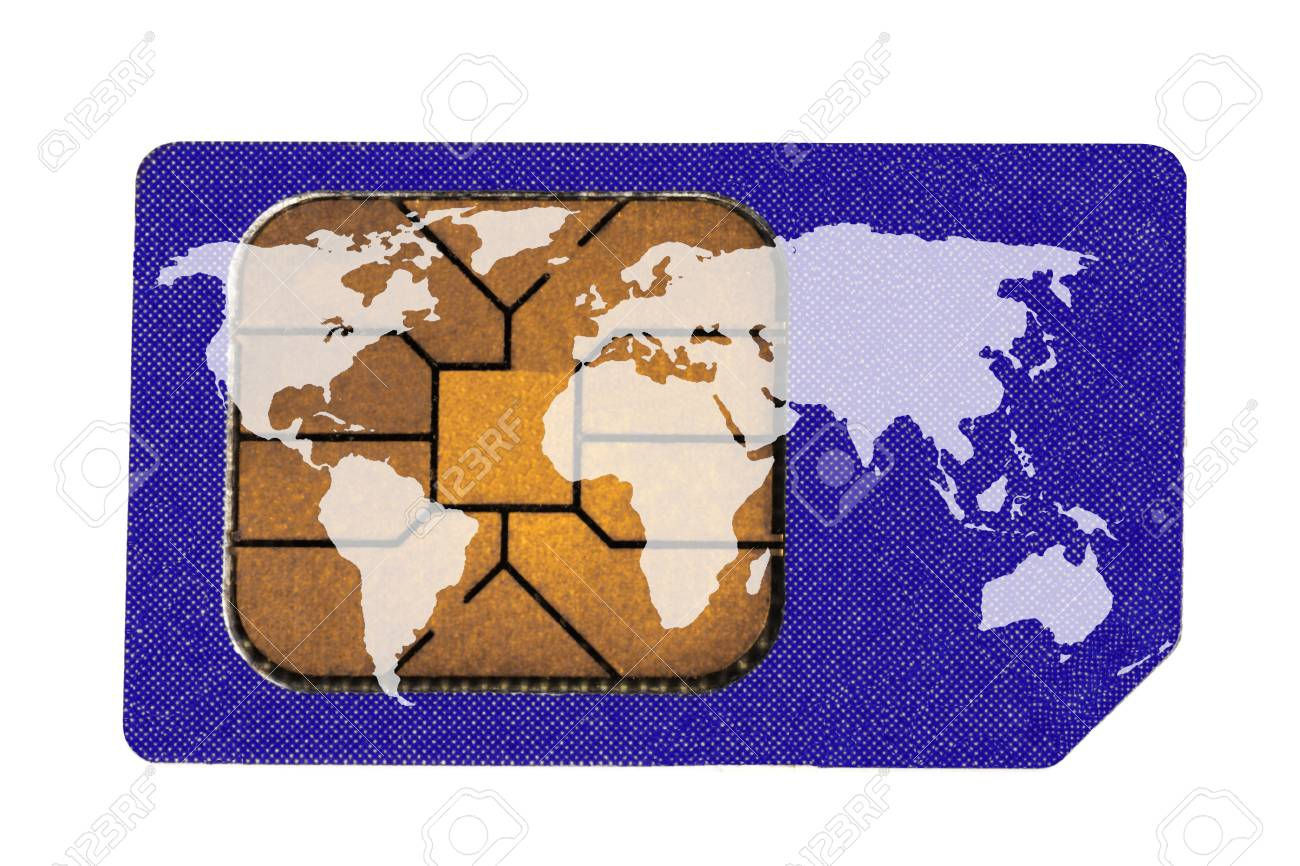 Sim Card with World Map isolated on the white Stock Photo - 11297358