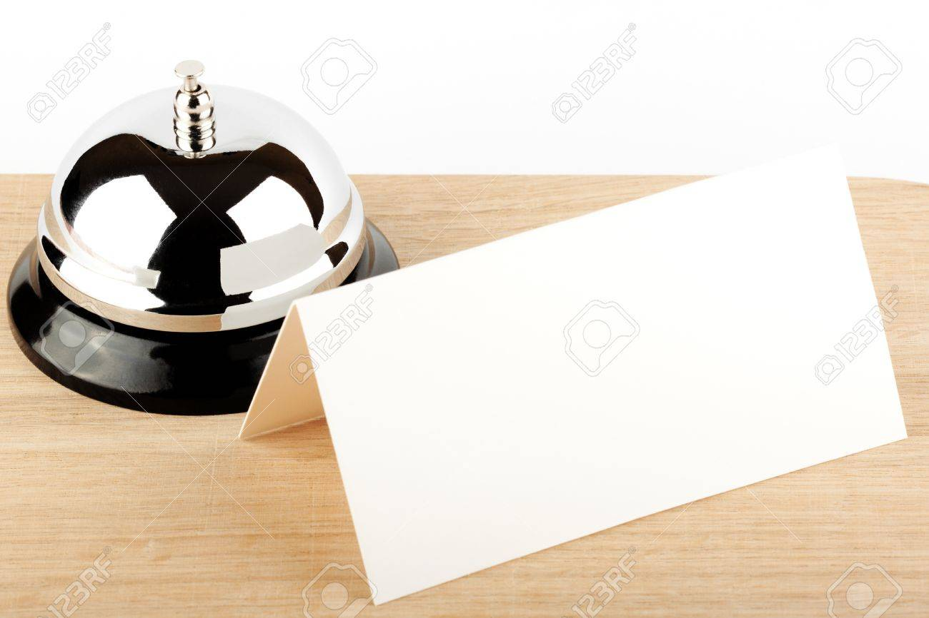 Service Bell with Blank Sign at Hotel Desk Stock Photo - 12043359
