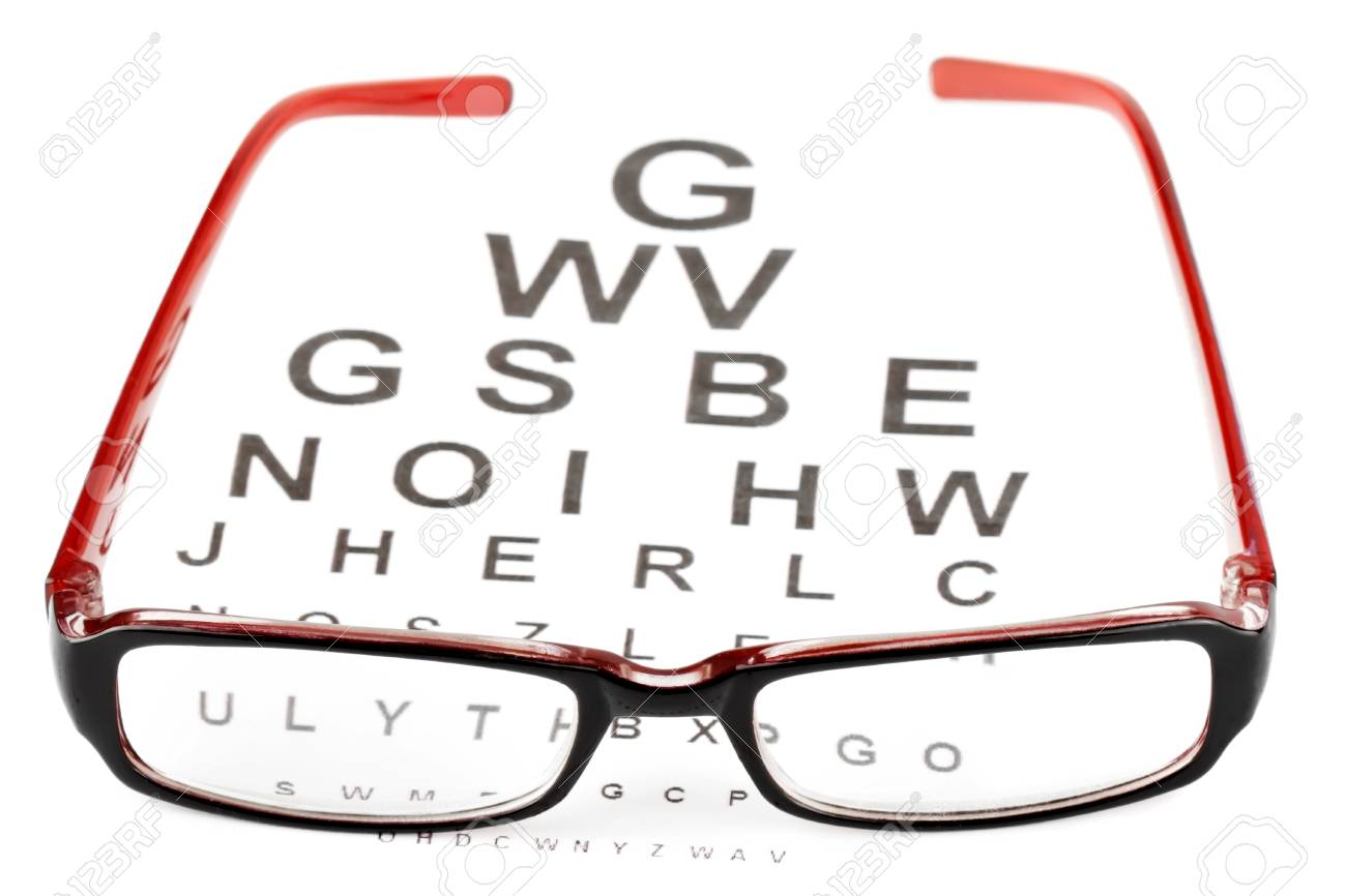 Reading glasses with eye chart extreme closeup Stock Photo - 12043377