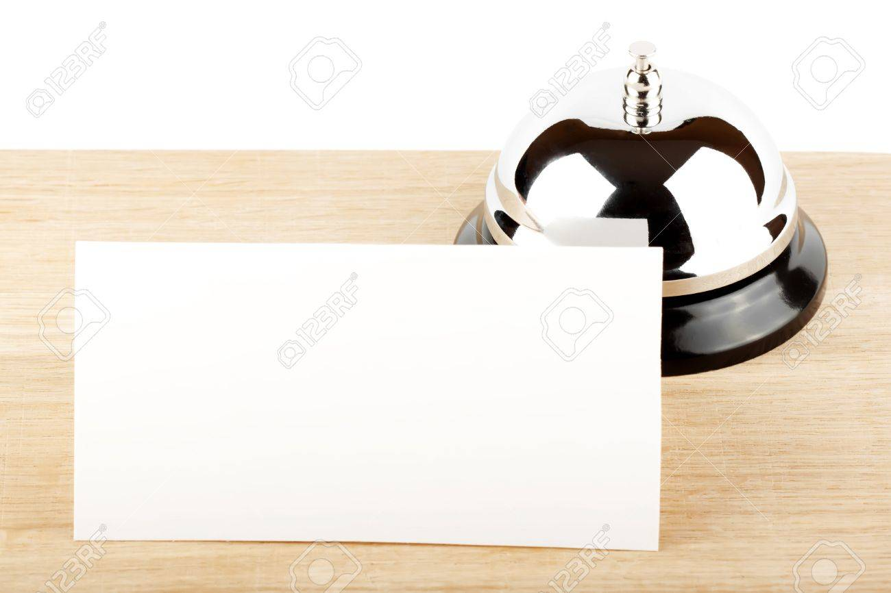 Service Bell with Blank Sign at Hotel Desk Stock Photo - 12043384