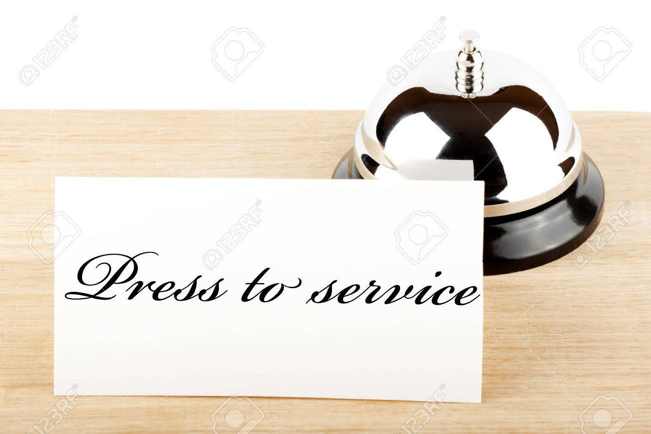 Service Bell with Service Sign at Hotel Desk Stock Photo - 12043386