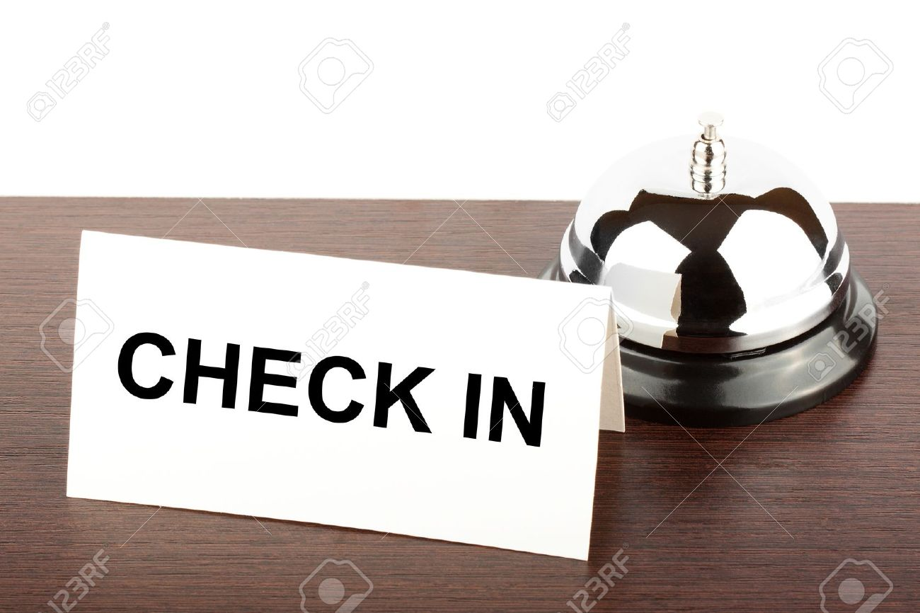 Service Bell With Check In Sign At Hotel Desk Stock Photo, Picture ...