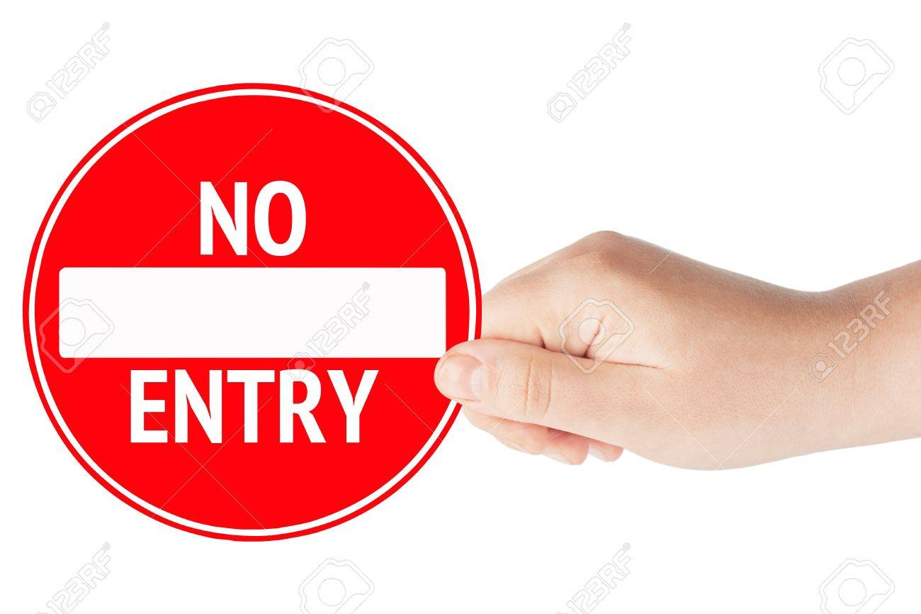 Round sign No Entry with hand on a white background Stock Photo - 12787435