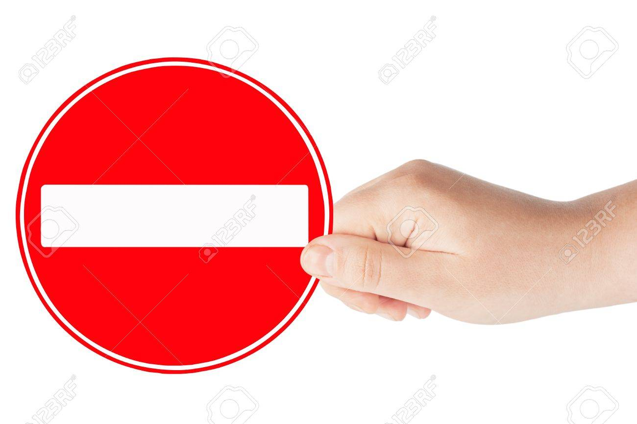 Round sign No Entry with hand on a white background Stock Photo - 12787428
