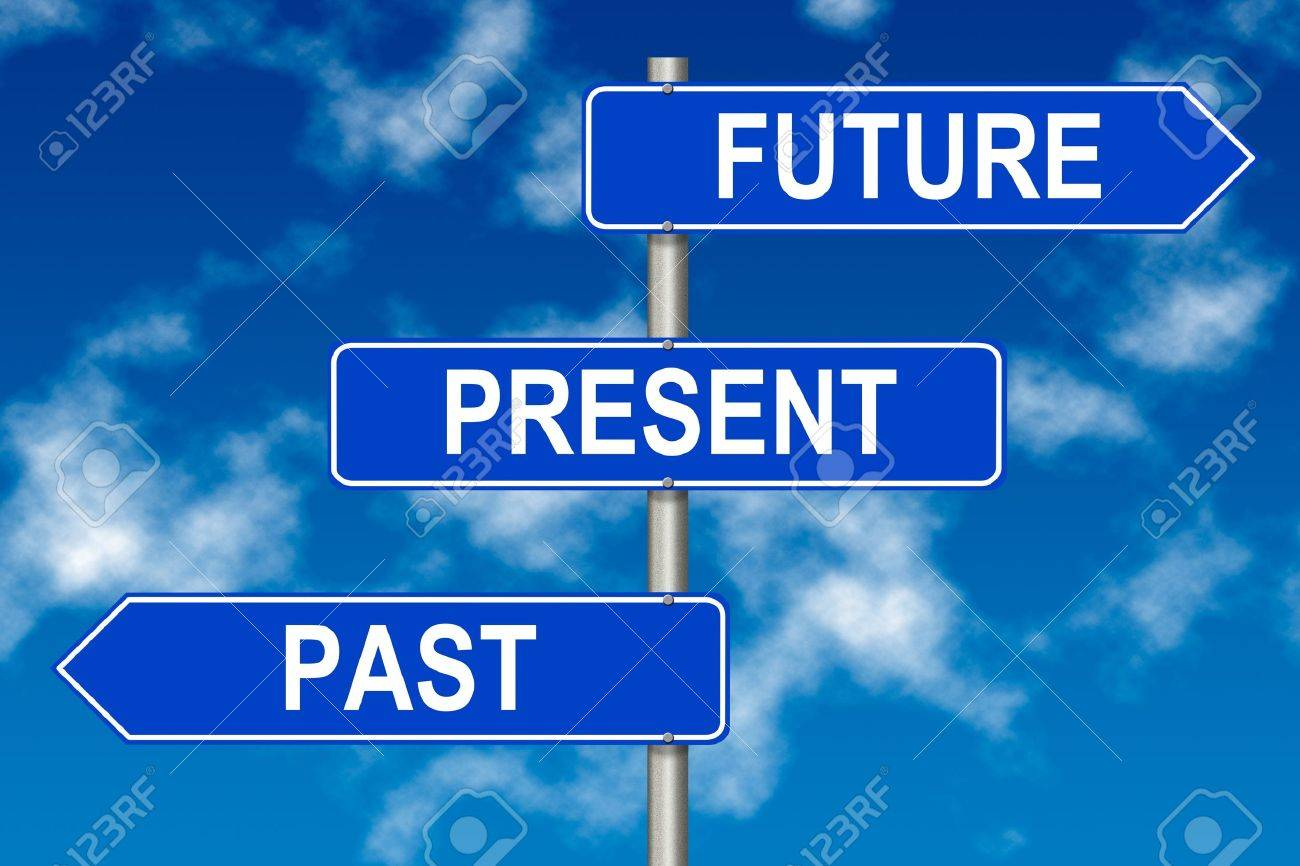 Past Present Future traffic sign on a sky background - 13599282