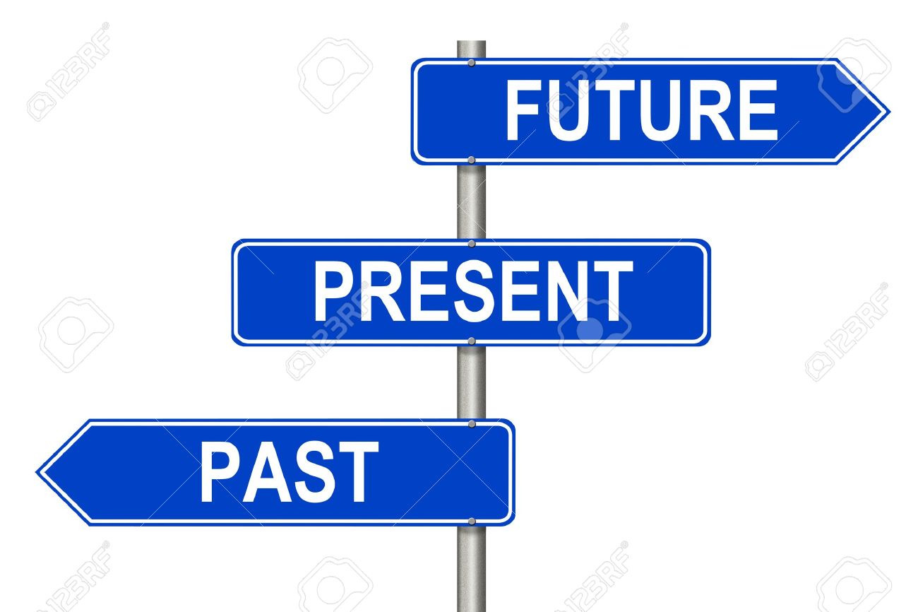 Past Present Future traffic sign on a white background Stock Photo - 13830346