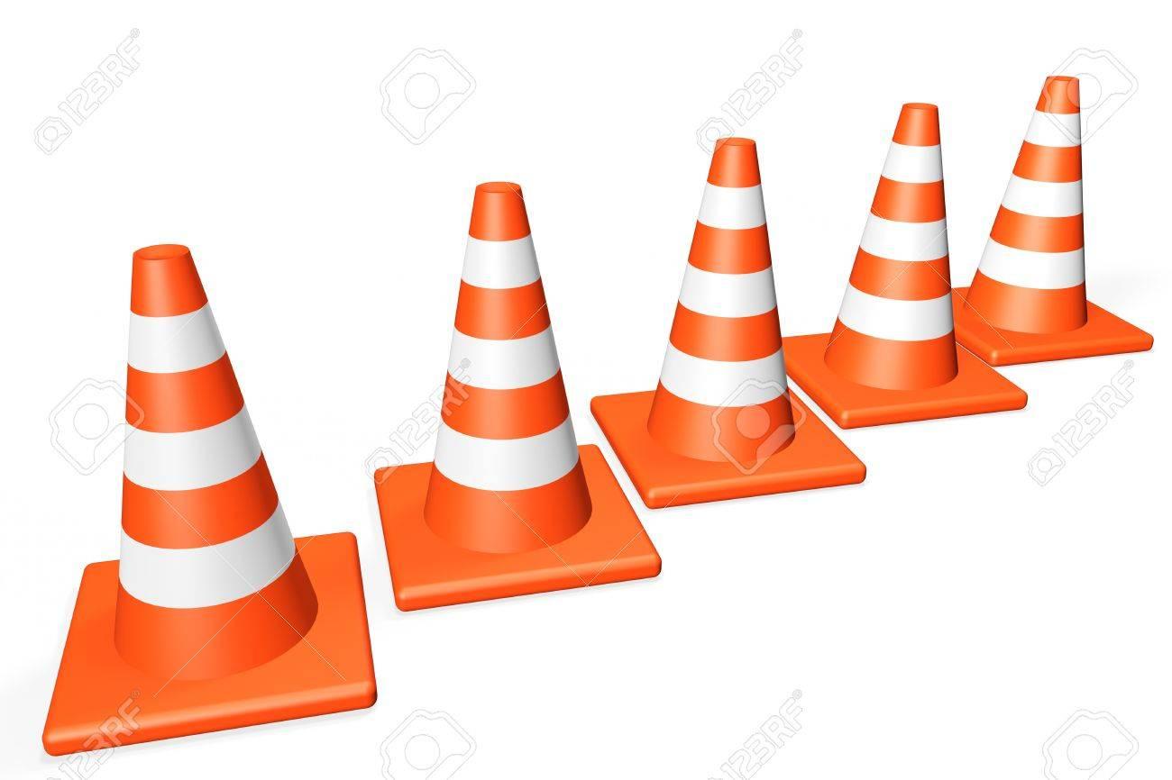 Orange closeup Traffic cones on a white background Stock Photo - 13830355
