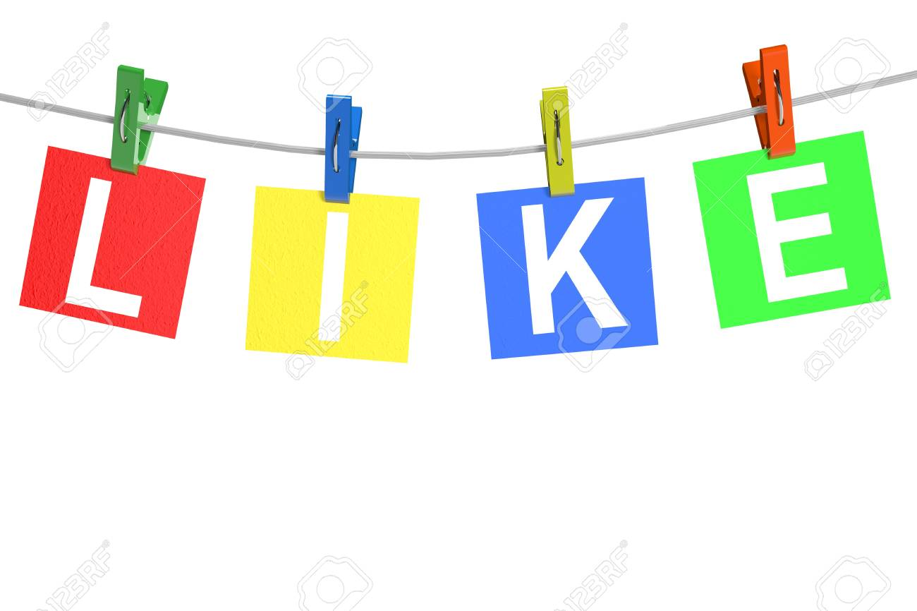 Like tags with clothespin on a white background Stock Photo - 13943372