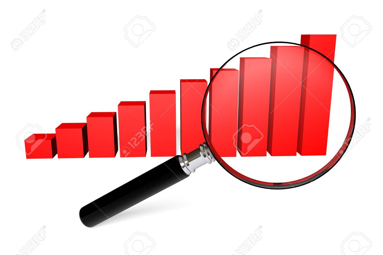 Magnifying glass and red raising charts on a white background Stock Photo - 13997306