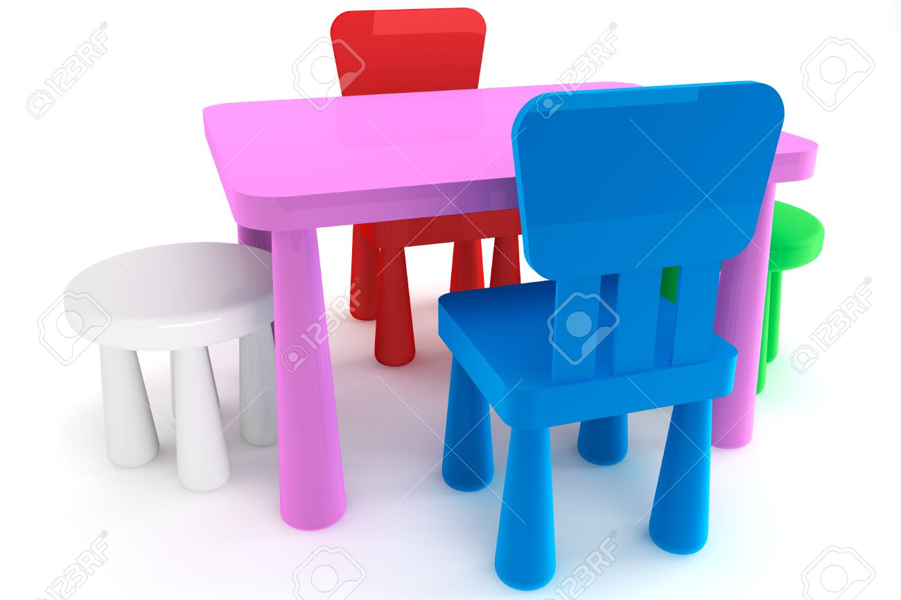 Colorful Plastic Kid Chairs And Table On A White Background Stock Photo    14601184
