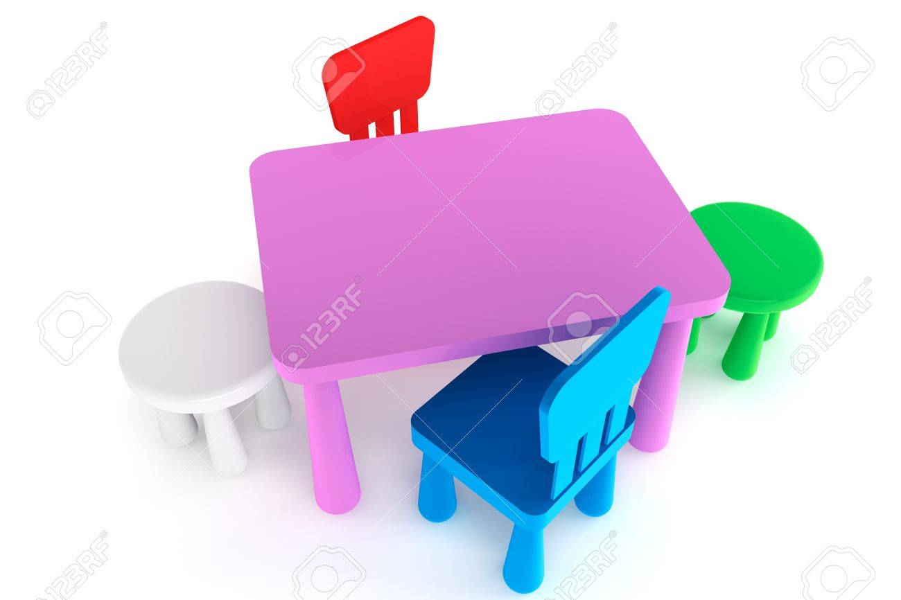 Tremendous Colorful Plastic Kid Chairs And Table On A White Background Gmtry Best Dining Table And Chair Ideas Images Gmtryco