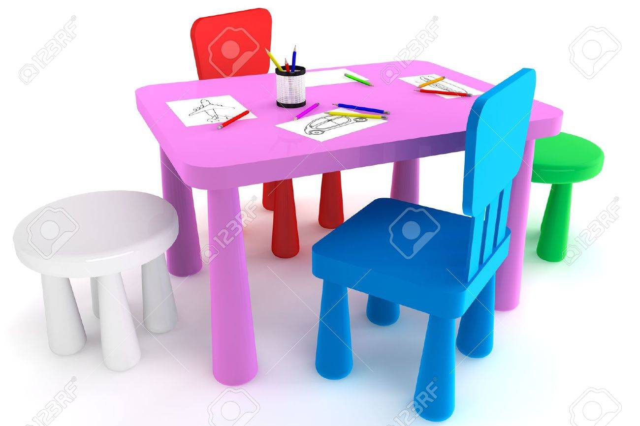 Genial Colorful Plastic Kid Chairs And Table On A White Background Stock Photo    14601227