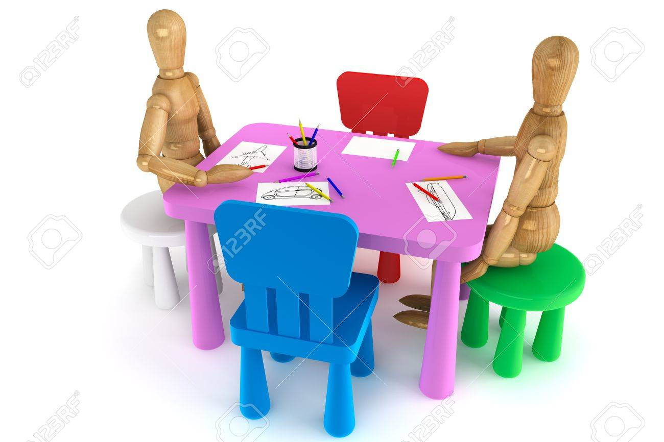 Superb Colorful Plastic Kid Chairs And Table With Wooden Dummy On A Gmtry Best Dining Table And Chair Ideas Images Gmtryco
