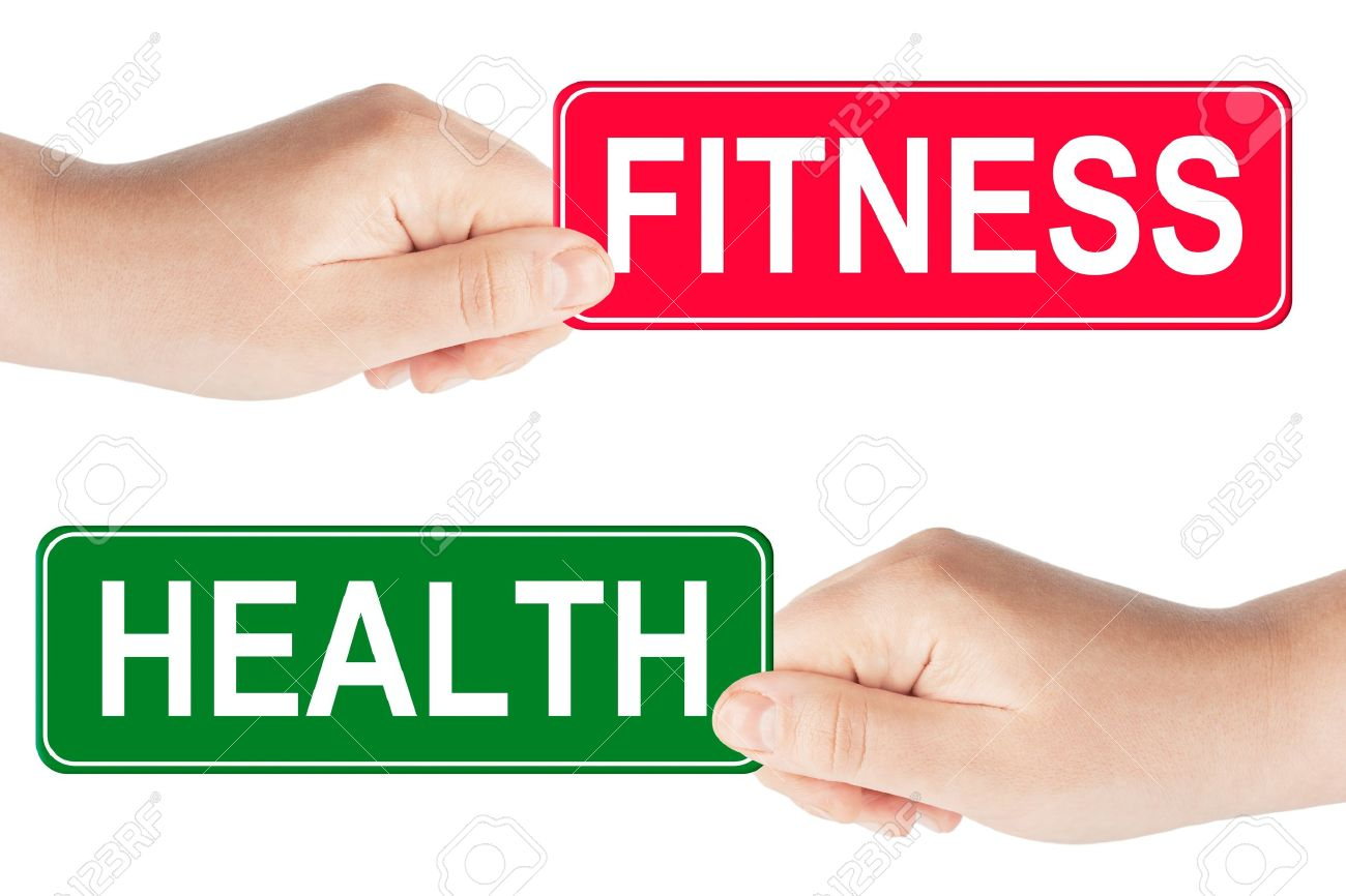 Fitness And Health Traffic Sign In The Hand On The White ...