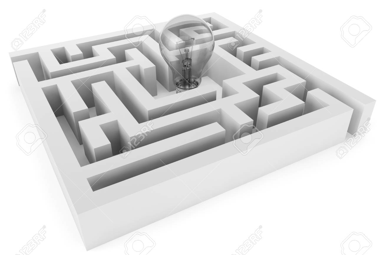 Idea Concept. Closeup Light Bulb in labyrinth on a white background Stock Photo - 14855114