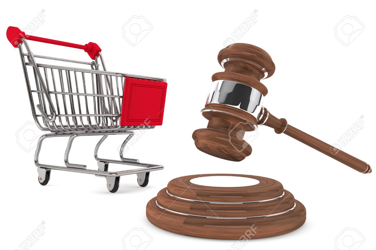 Justice Gavel with Shopping Cart on a white background Stock Photo - 15065556