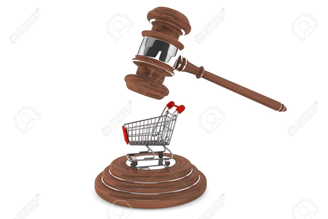 Justice Gavel with Shopping Cart on a white background Stock Photo - 15065541