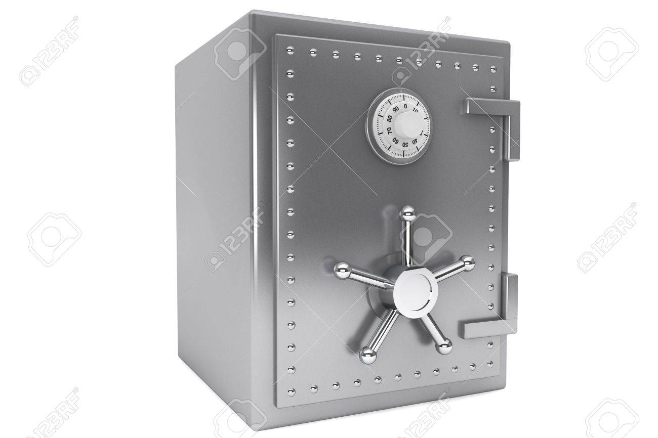 Safety concept. Steel Bank safe on a white background. Stock Photo - 15725064