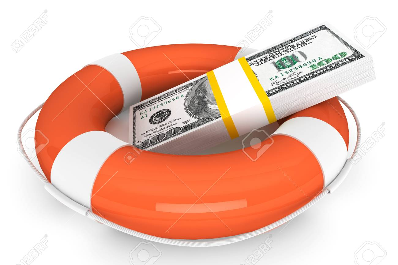 Financial Crisis concept. Dollars with Life Buoy on a white background Stock Photo - 16061073