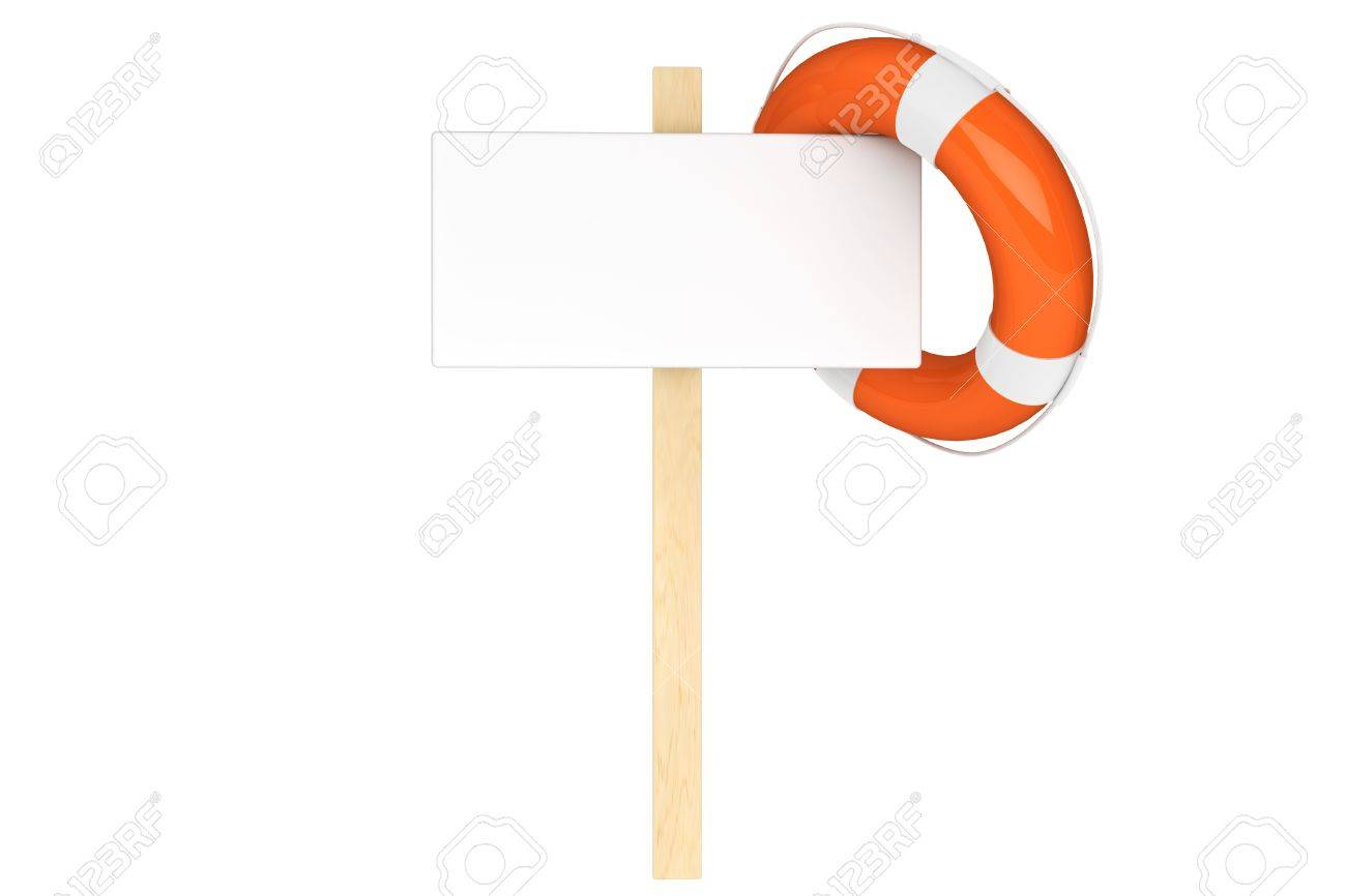 Help Concept. Life Buoy with blank sign on a white background Stock Photo - 16060978