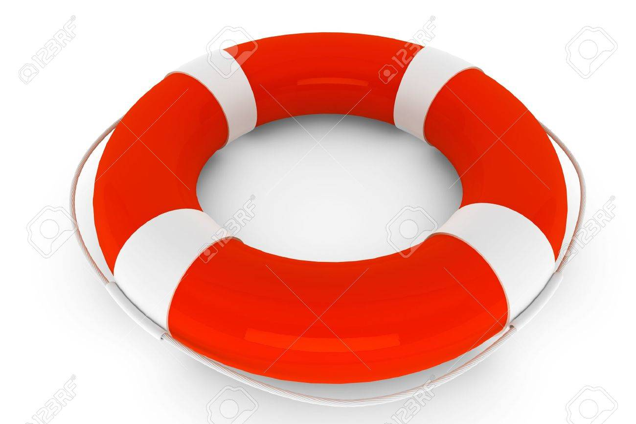 Assistance Concept. Life Buoy on a white background Stock Photo - 16061028