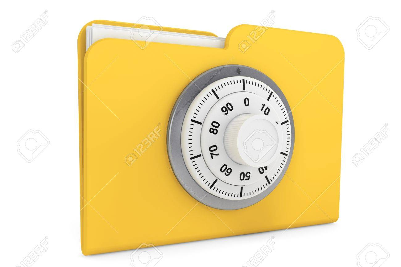 Security concept. Yellow folder and locked combination pad lock on a white background Stock Photo - 16421083