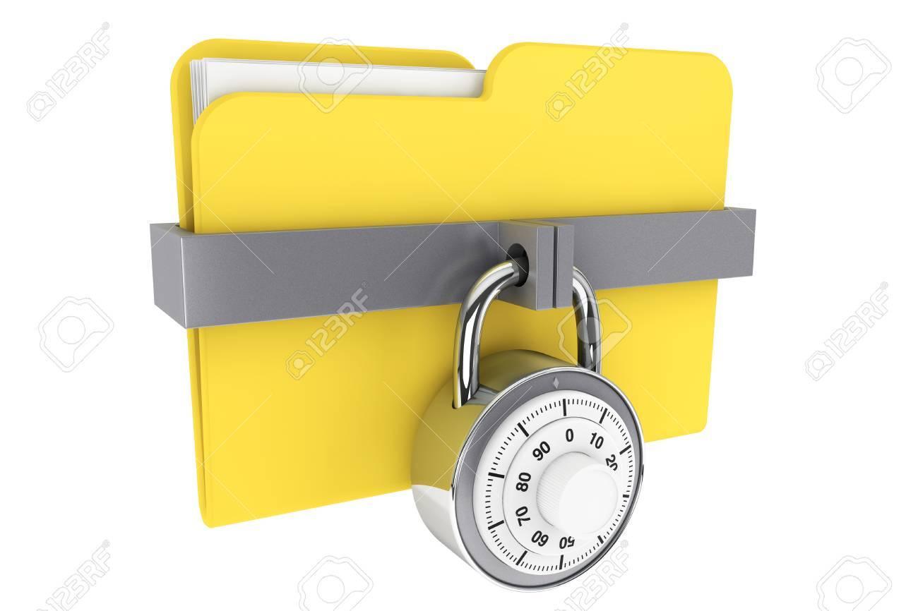 Seguridad Concepto. Carpeta Amarilla Y Bloqueo Bloqueado Almohadilla ...