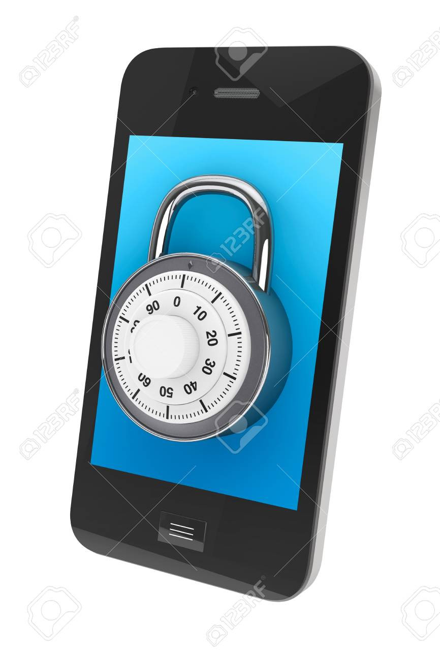 Phone Security concept. Mobile phone with Lock on a white background Stock Photo - 16421082