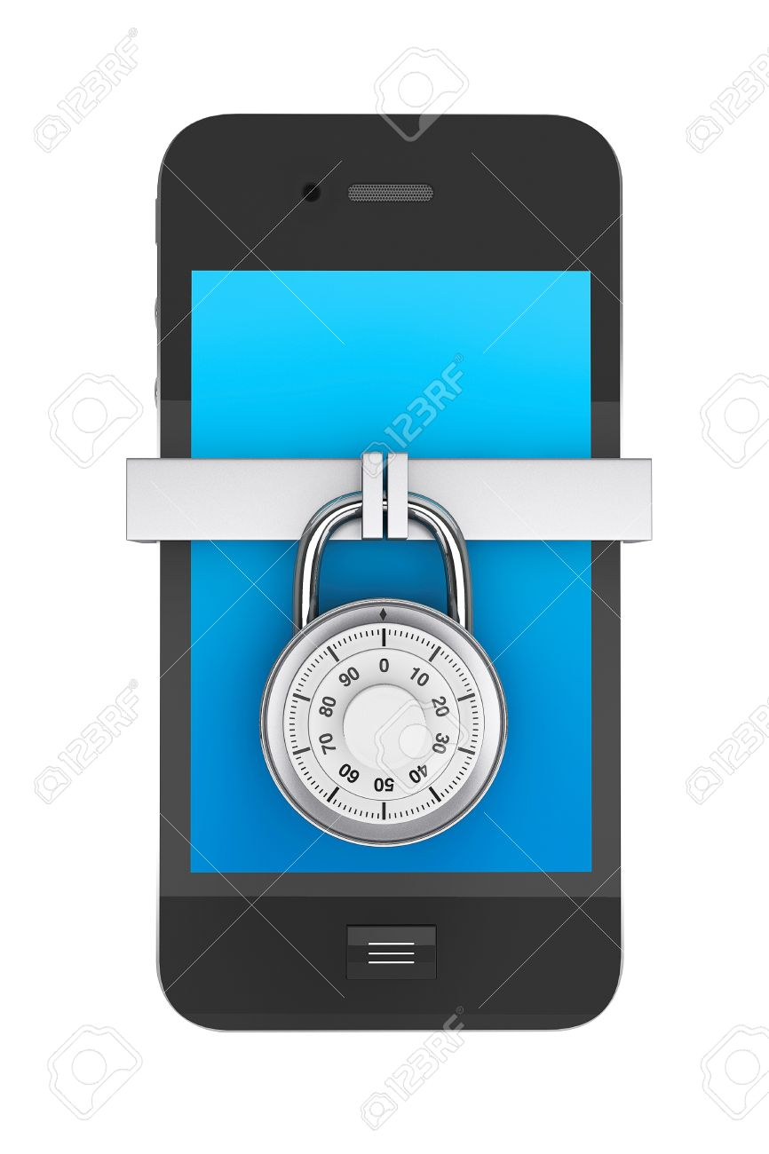 Phone Security concept. Mobile phone with Lock on a white background Stock Photo - 16421187