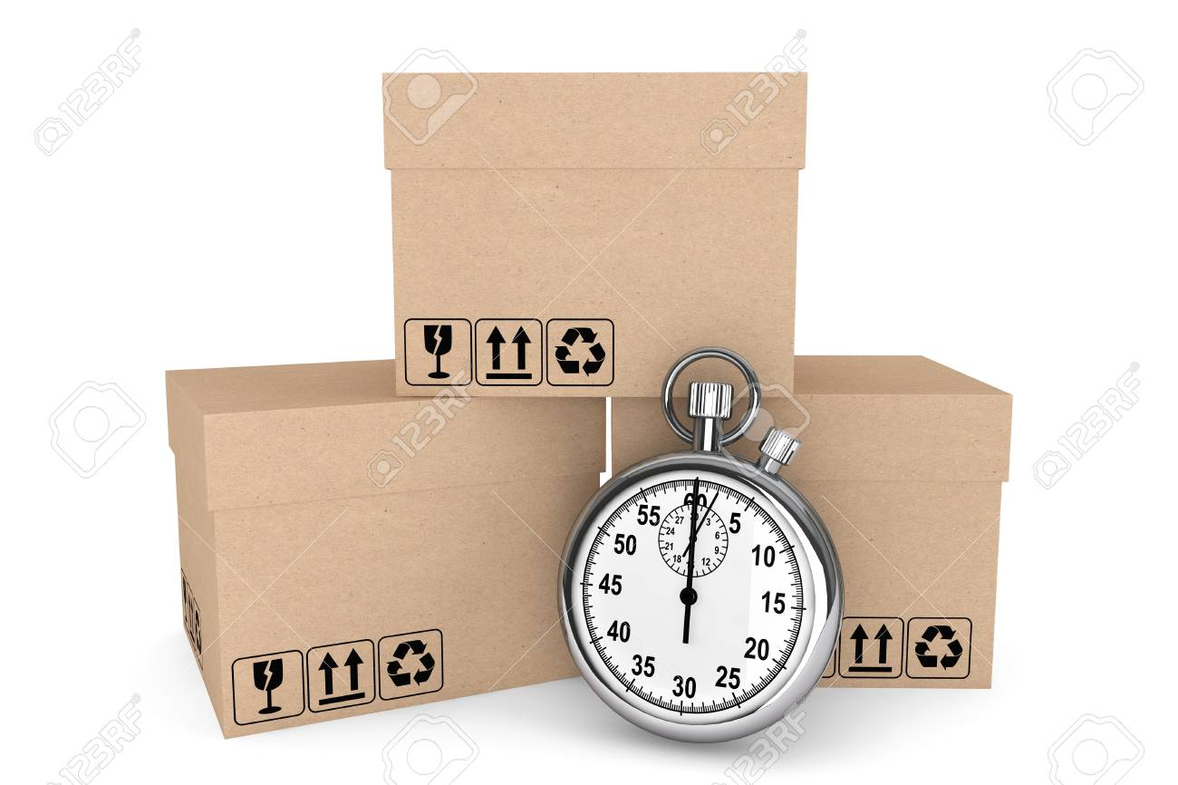 Logistic concept. Stopwatch and boxes on a white background Stock Photo - 17338898