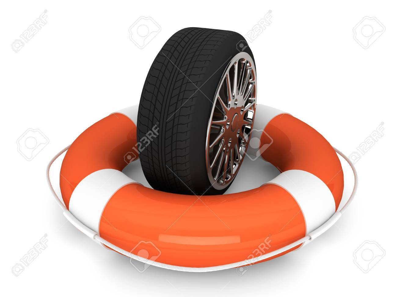 Car assistance concept. Lifebuoy with wheel tyre on a white background Stock Photo - 17872000