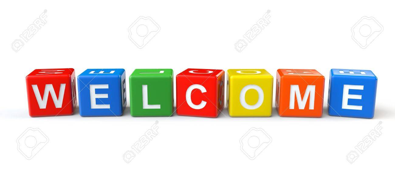 Colorful Cubes With Welcome Sign On A White Background Stock Photo