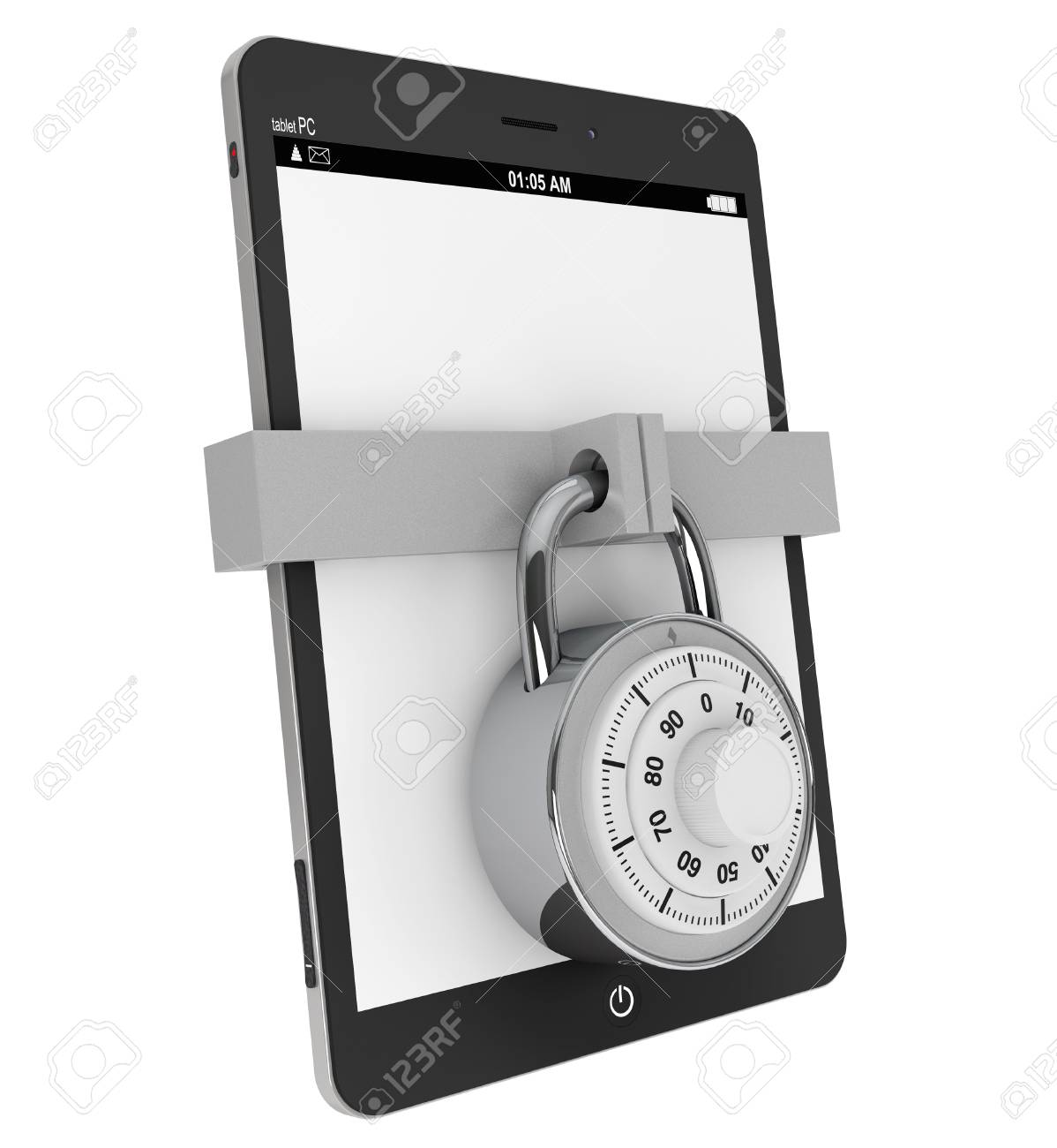 Mobile Security concept. Tablet PC with Lock on a white background Stock Photo - 18069503